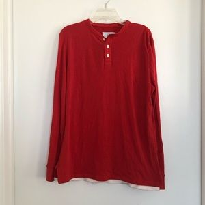 Jack Spade Red Cotton Henley Long Sleeve Top
